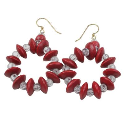 Beaded Sese Wood and Recycled Plastic Earrings from Ghana