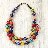 Recycled beaded plastic necklace, 'Carnival Flair' - Colorful Recycled Plastic Beaded Necklace from Ghana