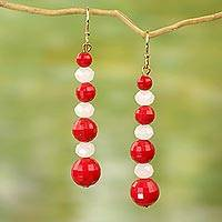 Upcycled dangle earrings, 'Eco Red and White' - Handcrafted Red and White Eco Friendly African Earrings
