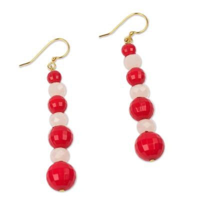Handcrafted Red and White Eco Friendly African Earrings