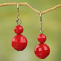 Upcycled dangle earrings, 'Mystical Red' - Hand Crafted Red Recycled Plastic Dangle Earrings from Ghana