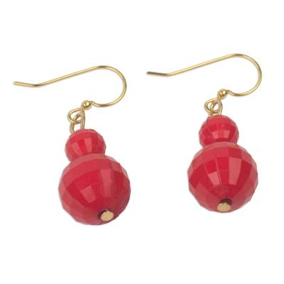 Hand Crafted Red Recycled Plastic Dangle Earrings from Ghana