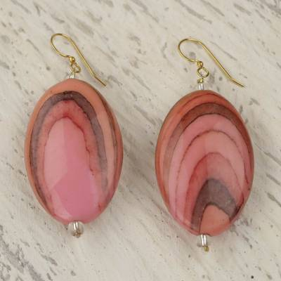 Upcycled dangle earrings, 'Rustic Love in Pink' - Hand Crafted Upcycled Plastic Dangle Earrings in Pink