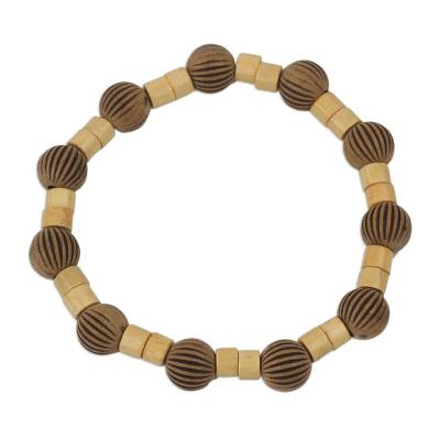 Artisan Crafted Sese Wood and Recycled Plastic Bracelet