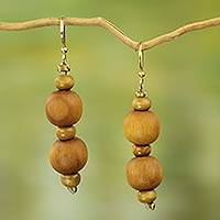 Wood beaded dangle earrings, 'Rustic Dreams'