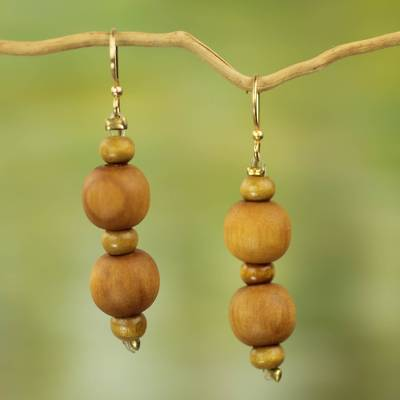 Wood beaded dangle earrings, 'Rustic Dreams' - Artisan Crafted Wood Beaded Dangle Earrings from Ghana