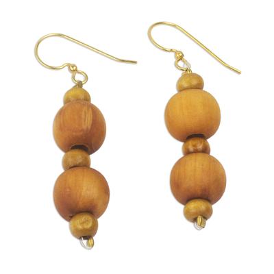Wood beaded dangle earrings, 'Rustic Dreams' - Artisan Crafted Wood Beaded Dangle Earrings from Ghana