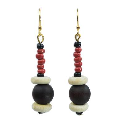 Red Agate and Wood Beaded Earrings Artisan Crafted Jewelry