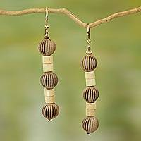 Wood dangle earrings, 'Paper Lanterns' - Recycled Plastic Wood Dangle Earrings from West Africa