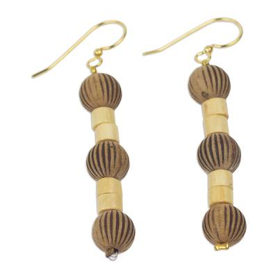 Recycled Plastic Wood Dangle Earrings from West Africa