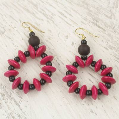 Wood dangle earrings, 'Bloom in Magenta' - Hand Crafted Sese Wood Dangle Earrings from Ghana