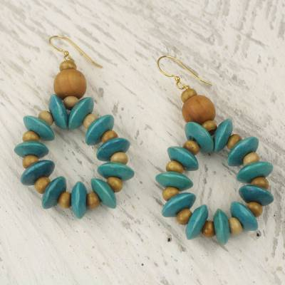 Wood dangle earrings, 'Bloom in Turquoise' - Artisan Crafted Beaded Wood Dangle Earrings from Ghana
