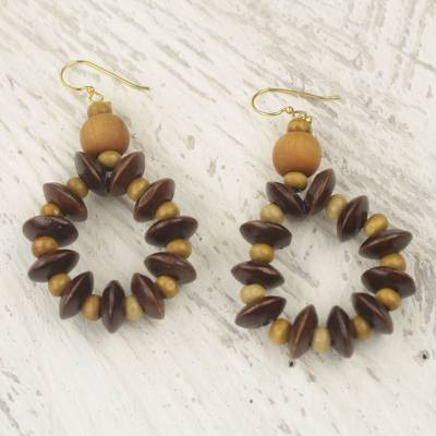 Wood dangle earrings, 'Bloom in Chocolate' - Fair Trade Sese Wood Beaded Dangle Earrings from Ghana