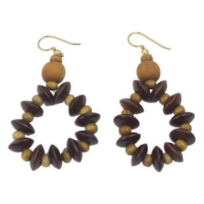 Wood dangle earrings, 'Bloom in Chocolate' - Fair Trade Sese Wood Beaded Dangle Earrings from Ghana