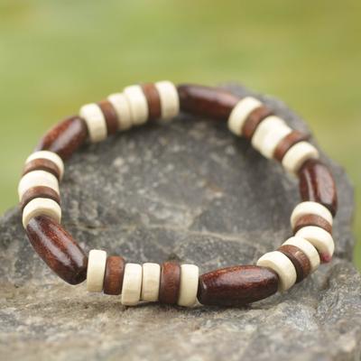 Wood stretch bracelet, 'Chocolate' - Artisan Crafted Wood Beaded Stretch Bracelet from Ghana