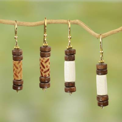Wood dangle earrings, 'Natural Simplicity' (2 pairs) - Artisan Crafted Wood Beaded Dangle Earrings (2 Pairs)