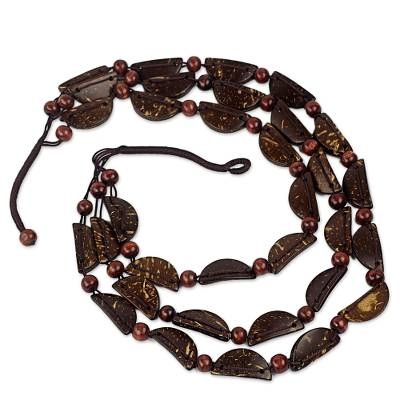 Coconut shell beaded necklace,