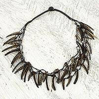 Coconut shell necklace, 'Valiant Warrior' - Handmade Coconut Shell Necklace on Double Strand Nylon Cords