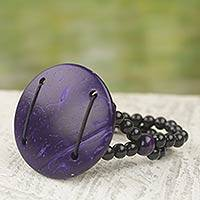 Coconut shell stretch bracelet, 'Purple Moon' - Hand Crafted Coconut Shell and Plastic Stretch Bracelet