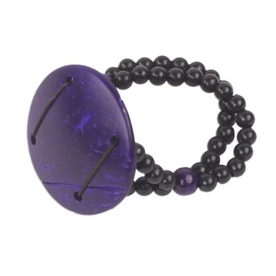 Hand Crafted Coconut Shell and Plastic Stretch Bracelet