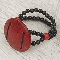 Coconut shell pendant stretch bracelet, 'Lunar Glow' - Handmade Coconut Shell, Recycled Plastic and Wood Bracelet