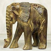 Wood sculpture, 'Proud Brown Elephant' - Hand Carved African Elephant Wood Sculpture from Ghana
