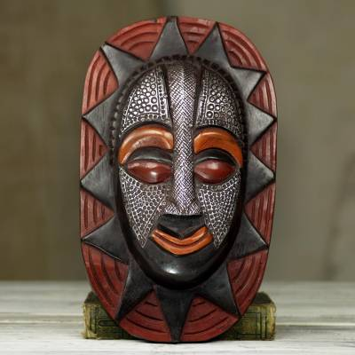African wood mask, 'Sun Mask' - Dazzling Wood Mask with Aluminum Adornment and Dark Color