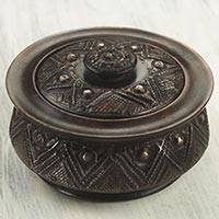 Decorative wood box, 'Gyamfi' - Circular Lidded Wood Box Handcrafted with Repousse