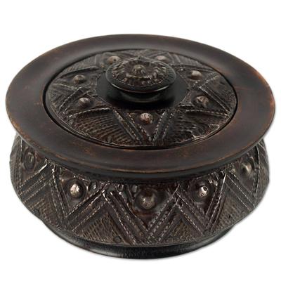 Decorative wood box, 'Gyamfi' - Circular Lidded Wood Box Handcrafted with Repousse