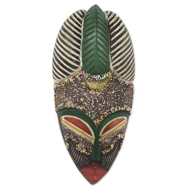 African wood mask, 'Pride of a Queen' - Colorful Wood and Metal Mask with Recycled Glass Beads