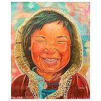 'Smile' (2014) - Colorful Painting African Portrait of a Little Girl Laughing
