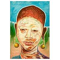 'Festival Disguise' - Signed Portrait Painting of a Girl from the Omo River Valley