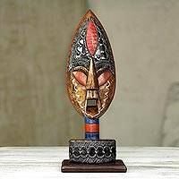 African wood mask, 'Warrior of Africa' - Hand Carved Wood African Warrior Mask on Stand