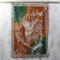 Cotton batik wall hanging, 'Obatala' - Artisan Crafted 100% Cotton Batik Wall Hanging from Ghana