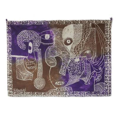 Cotton batik wall hanging, 'Masquerades in the Church' - Hand Crafted 100% Cotton Batik Wall Hanging from Ghana