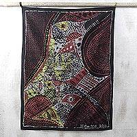 Cotton batik wall hanging, 'The Gods Have Spoken' - 100% Cotton Multi-colored Batik Wall Hanging from Ghana