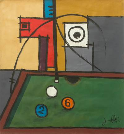 'Focus II' - Ghanaian Abstract Acrylic Painting on Canvas of Pool Player