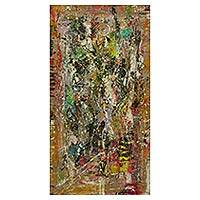 'Day Dreaming' - Multi Color Abstract Art Painting Signed by Artist in Ghana