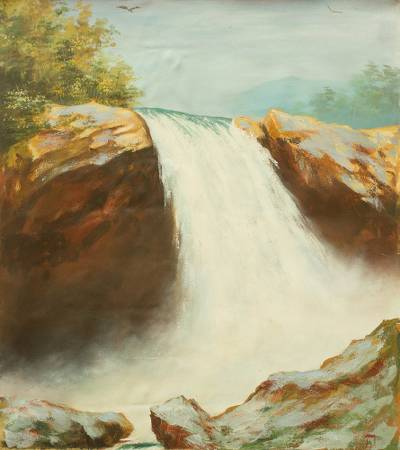 'Falls' - Original Acrylic Painting on Canvas of Waterfall from Ghana
