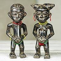 African wood fertility dolls, 'Heartfelt Wish' (pair) - Hand Crafted Wood Fertility Dolls with Glass Beads