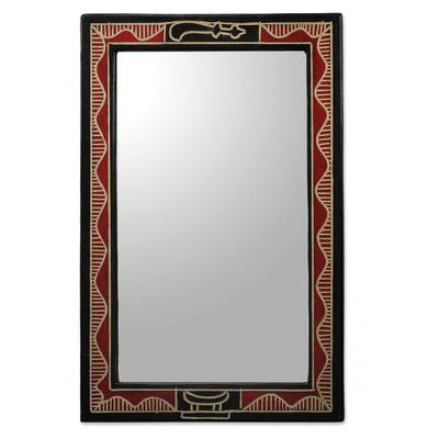 Hand Crafted Red and Black Wood Wall Mirror from Ghana - Akofena I ...