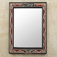 Wood wall mirror, 'Akofena II'