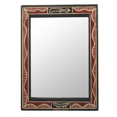 Handmade Red And Black Wood Wall Mirror From West Africa Akofena Ii