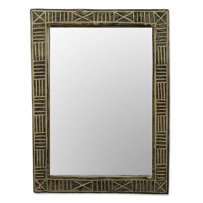 Hand Crafted Wood Wall Mirror from Ghana