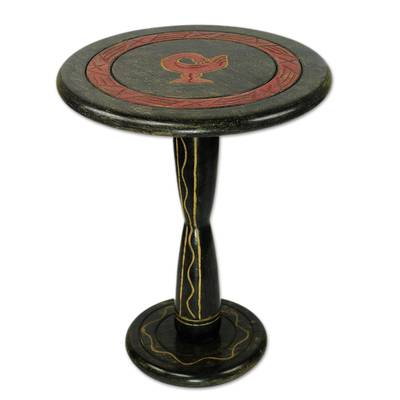 Hand Crafted Round Wood Accent Table from Ghana