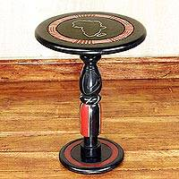 Wood accent table, 'Africa' - Hand Carved Circular Wood Accent Table from Ghana