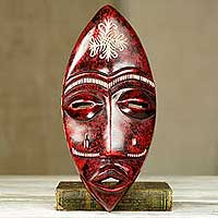 African wood mask, 'Tribal Frog' - Original African Wood Wall Mask Hand Crafted Oval Frog Face
