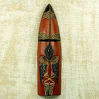 African wood mask, 'Aso Wura' - Gonja Landowner African Wall Mask Crafted by Artisan