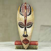 African wood mask, 'Farin Chiki' - Original African Mask of Happiness Carved by Hand in Ghana