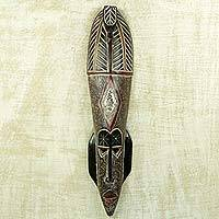 African wood mask, 'Ganin Neesa' - The Seer's Mask Original African Art Crafted by Artisan